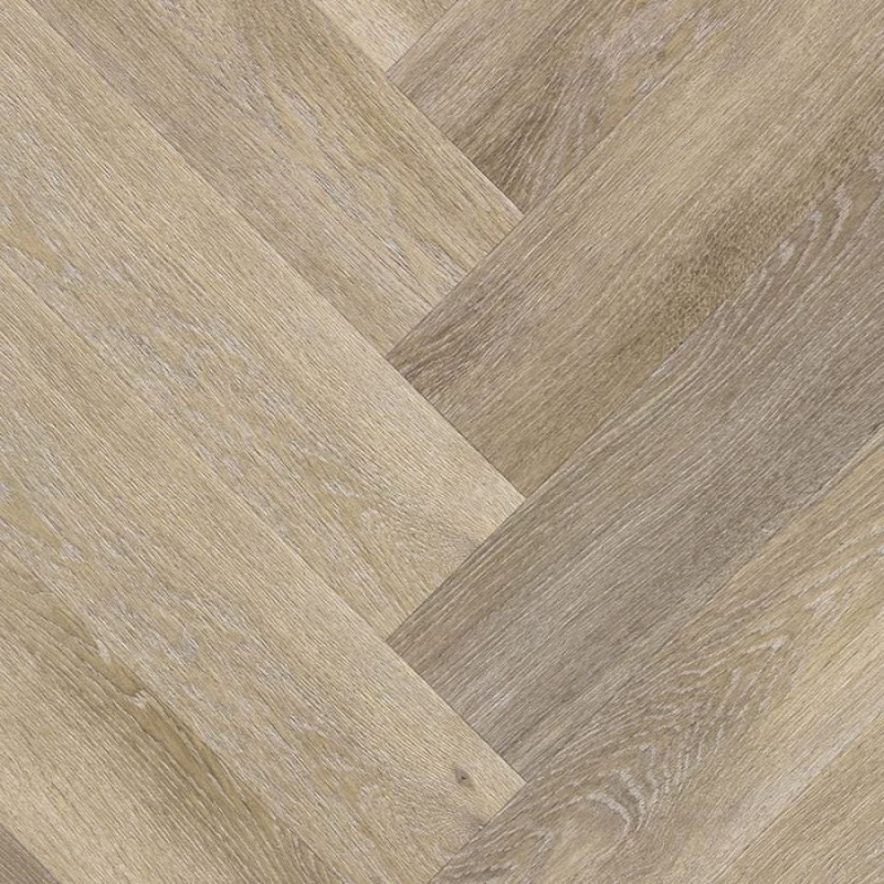Een natuurgetrouwe pvc vloer in een visgraat patroon.